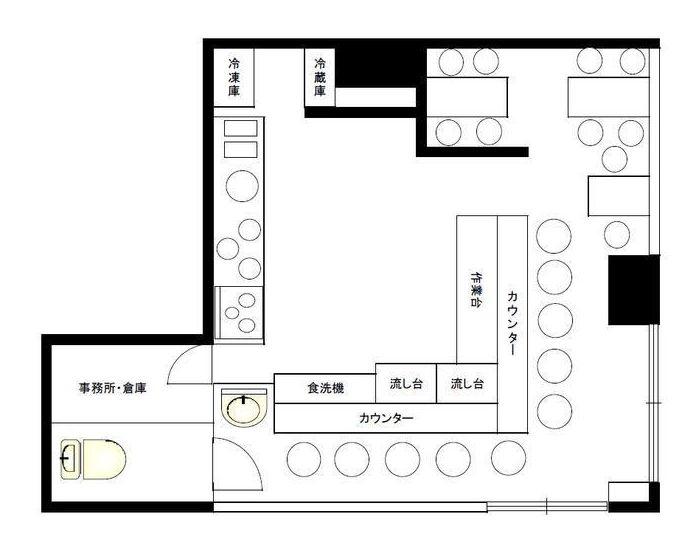 駅前ビル2階・カウンター席テーブル席完備の飲食店居抜き☆イメージ